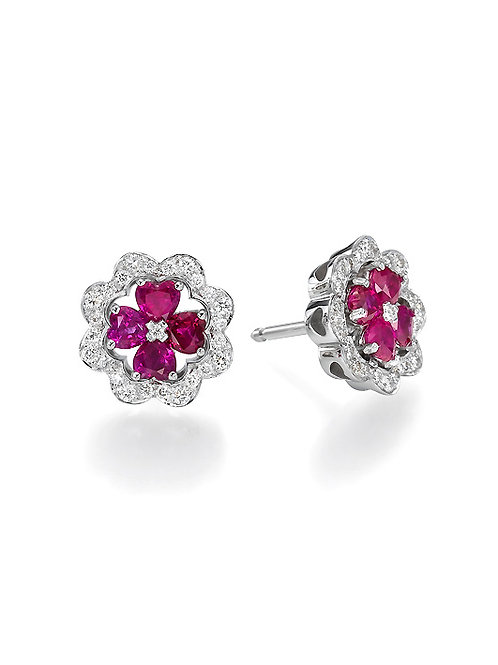 Tourmaline heart shapes and diamonds earring