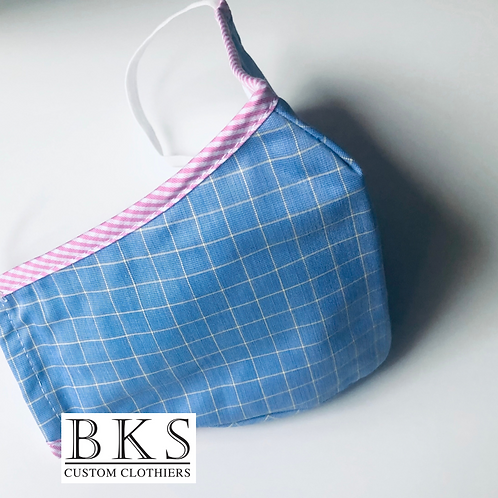 Face Mask - Blue & Yellow Check