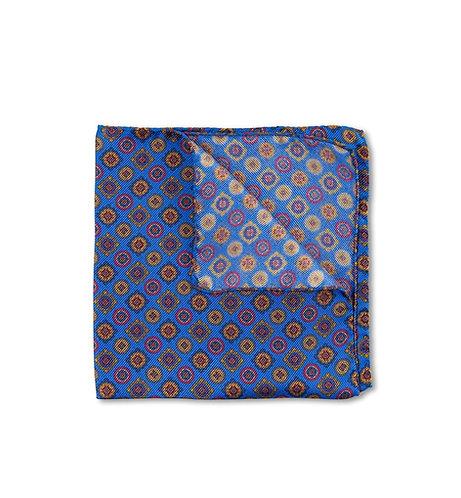 Blue Silk Ancient Madder Pocket Square