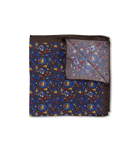 Brown Silk Floral Pocket Square