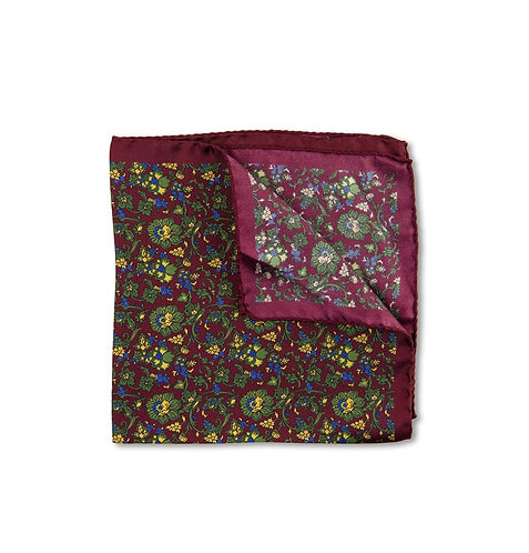 Burgundy Silk Floral Pocket Square