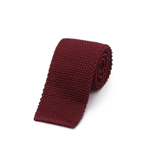 Silk Knit Tie Burgandy