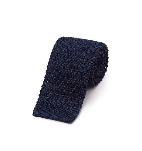 Silk Knit Tie Navy
