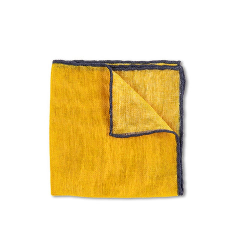 Yellow Open Weave Cashmere Pocket Square