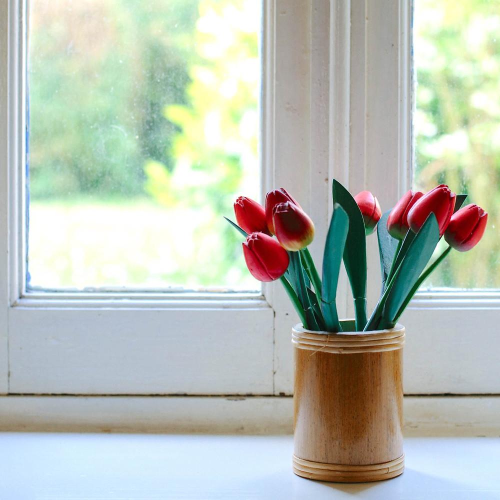 Sunny window with tulips