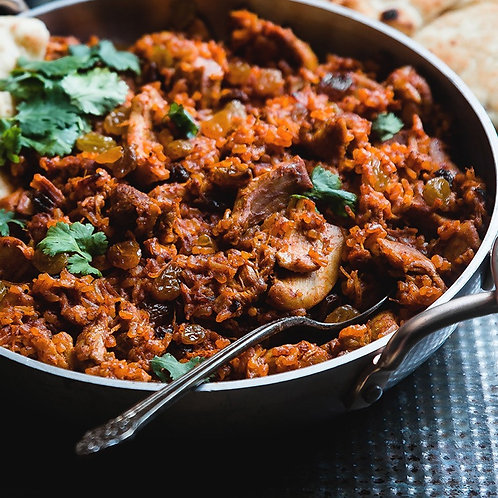 Beef Madras (Organic ground beef) with rice