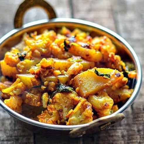 Aloo Gobi (Cauliflower and potato curry) with rice