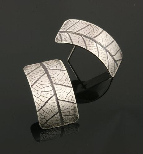 Rectangle Leaf post earrings