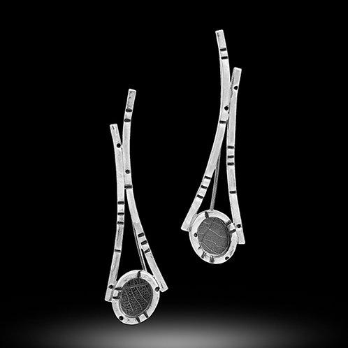 Rainforest short convex curves pebble earrings