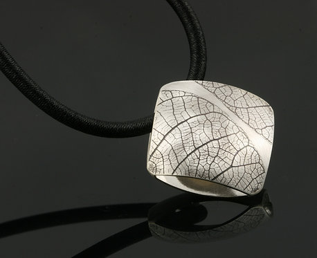 Large Leaf square on black rubber cord necklace