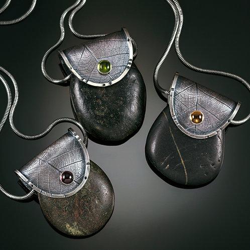 Rainforest stone purse pendants