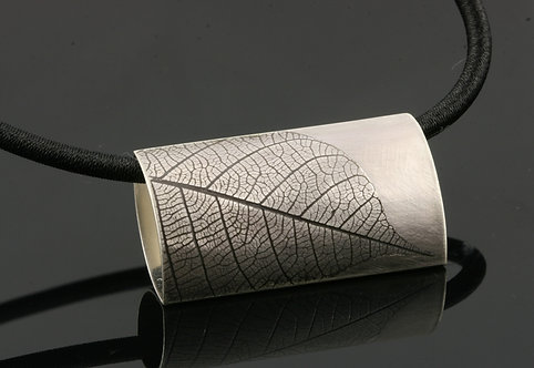 Large Leaf rectangle on black rubber cord necklac