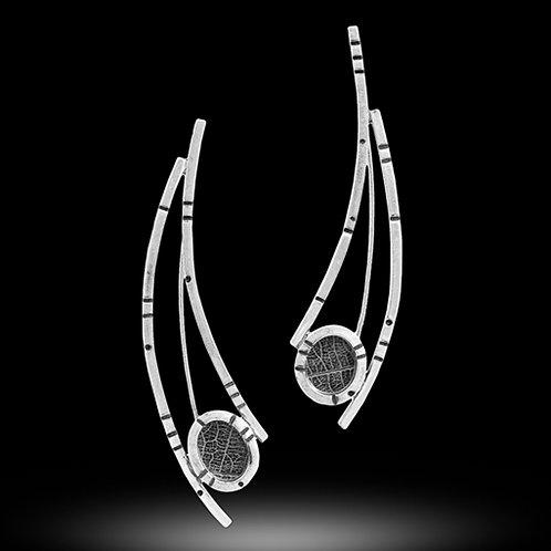 Rainforest long concave curves pebble earrings