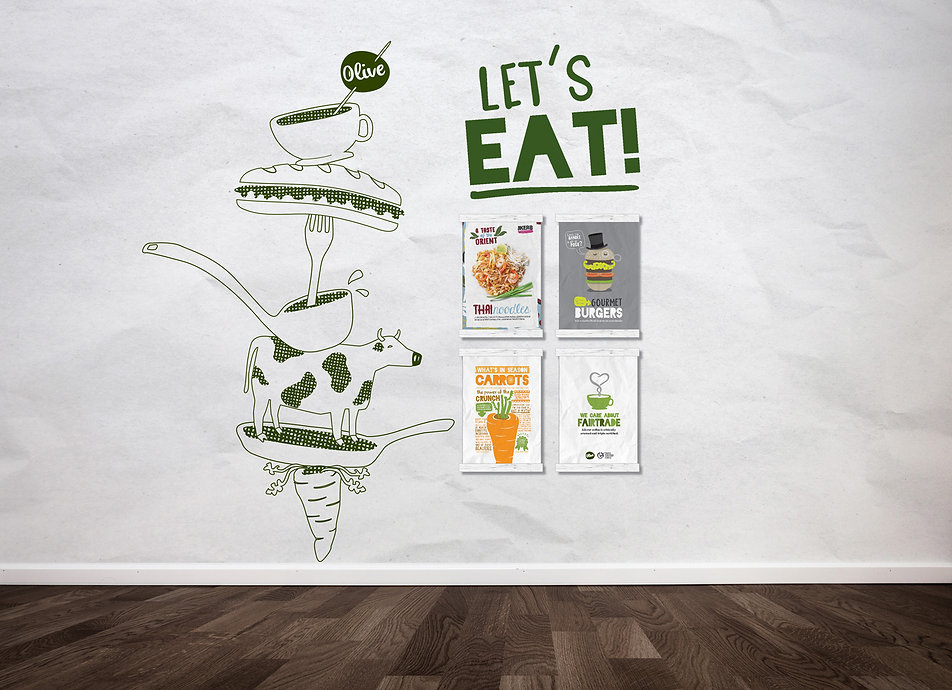 Olive Let's Eat Marketing Wall