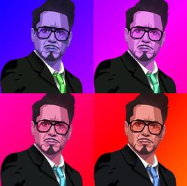 Pop Art of actor Robert Downey Jr.