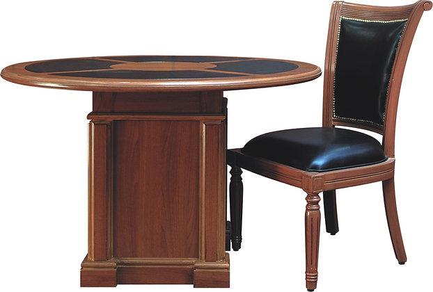 طاولة اجتماع كلاسيك دائرية موديل رويال خشب اسباني سطح جلد