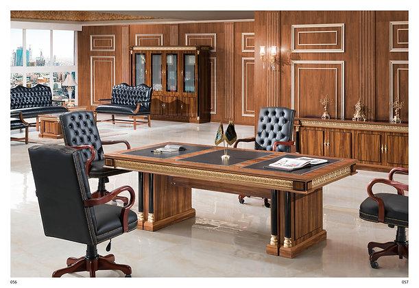 طاولة اجتماع كلاسيك موديل سيناتور خشب وطني سطح جلد