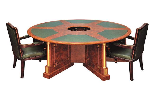 طاولة اجتماع كلاسيك دائرية موديل امير خشب اسباني سطح جلد
