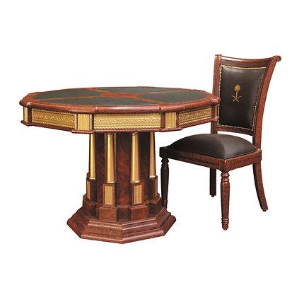 طاولة اجتماع دائرية موديل أمير خشب اسباني سطح جلد
