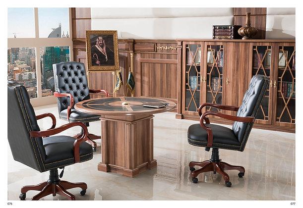 طاولة اجتماع كلاسيك دائرية موديل قنصل خشب وطني سطح خشب