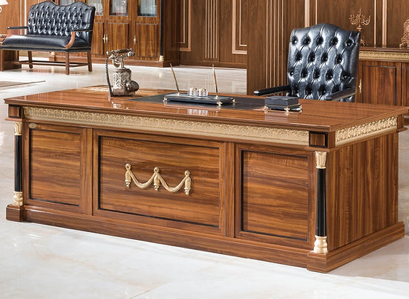 مكتب كلاسيك موديل سيناتور خشب وطني سطح جلد