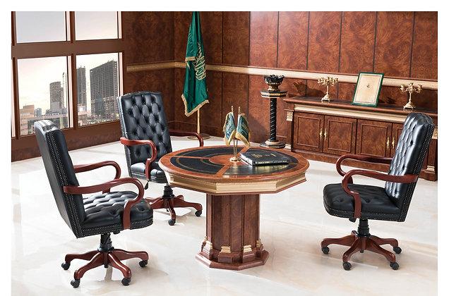 طاولة اجتماع كلاسيك دائرية خشب اسباني سطح جلد