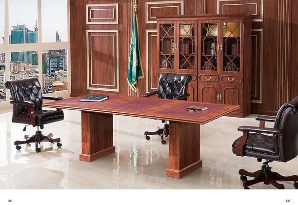 طاولة اجتماع كلاسيك موديل سفير خشب اسباني سطح جلد