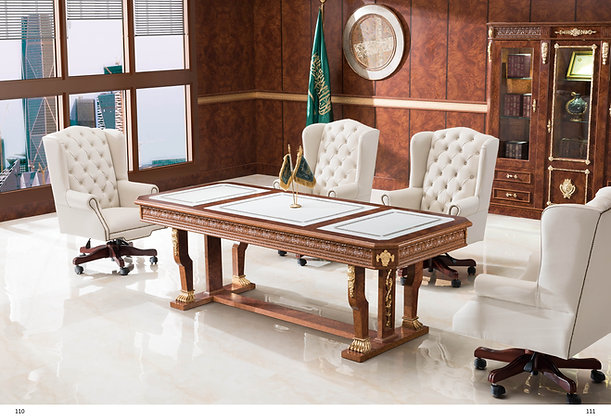 Classic meeting table, Spanish wood, Leather Top , model King