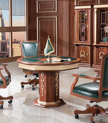 طاولة اجتماعات دائرية موديل وزير خشب اسباني سطح جلد
