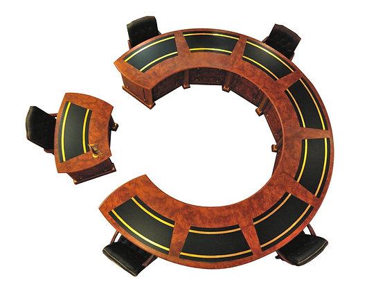 طاولة اجتماع كلاسيك دائرية قطعتان موديل امير خشب اسباني سطح خشب