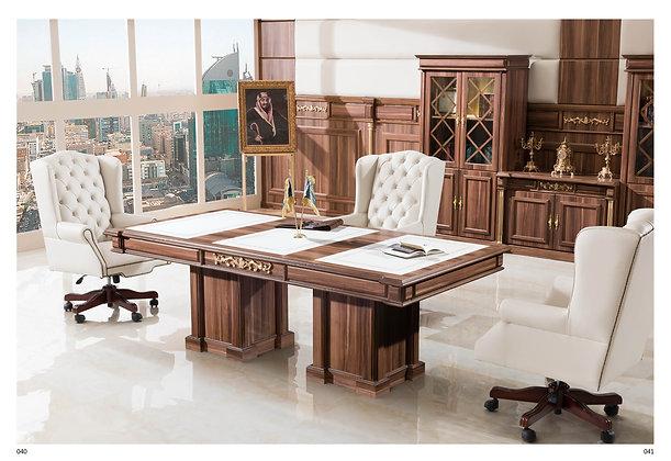 طاولة اجتماع كلاسيك موديل بوس خشب وطني سطح جلد