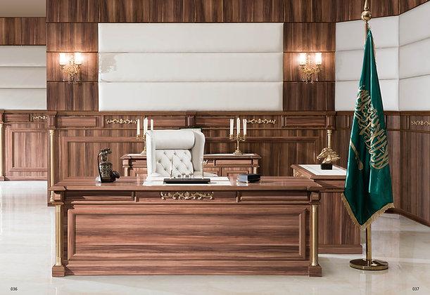 مكتب كلاسيك موديل بوس خشب وطني سطح جلد