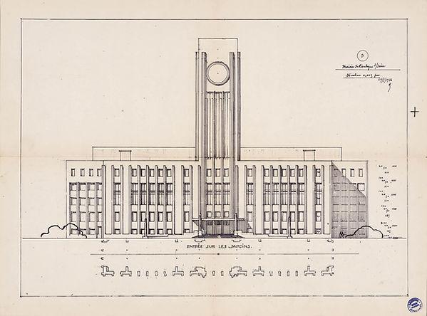 Avant-projet avec beffroi. 1926..jpg