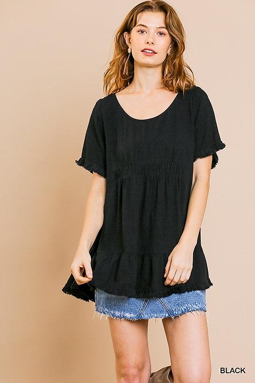 Black Linen Short Ruffle SL Top