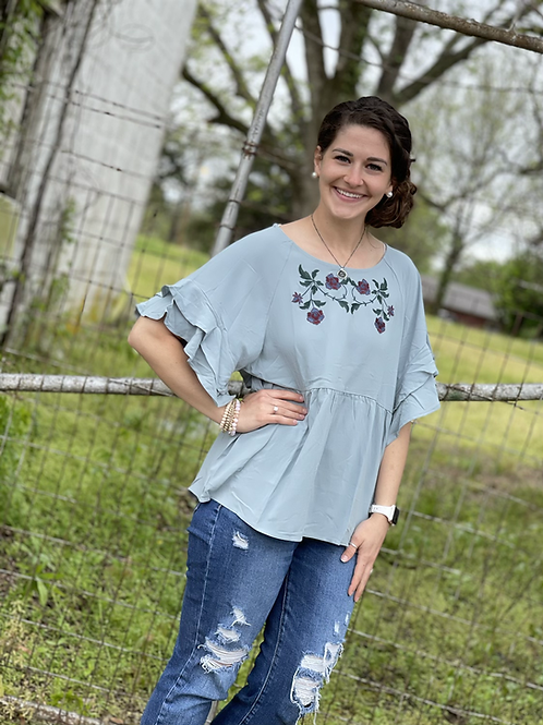 Dusty Mint Embroidery Blouse
