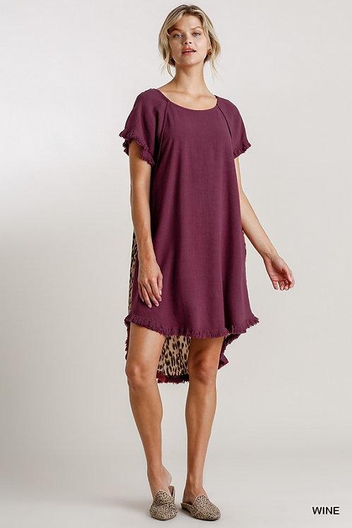 Wine Linen SS Animal Dress