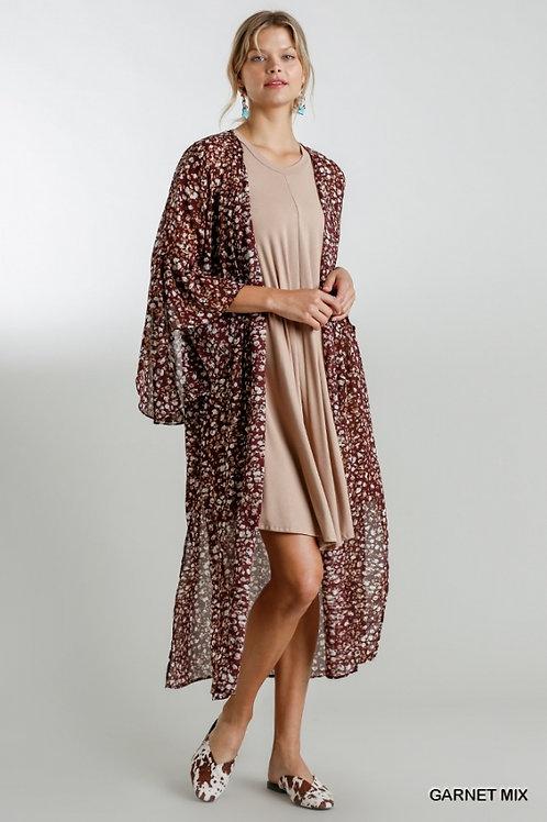 Garnet Animal Bell Sleeve Kimono
