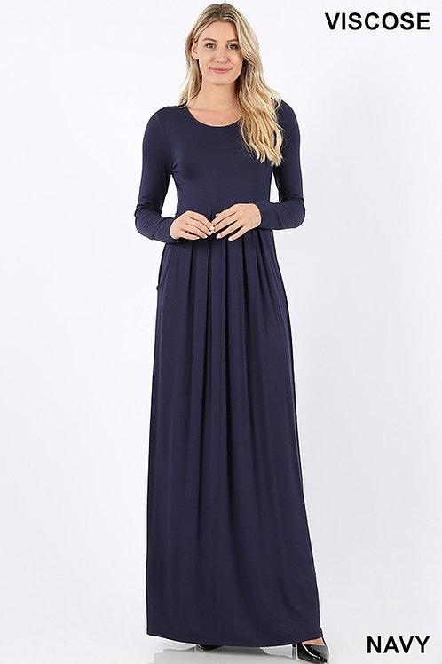 Navy Solid LS Maxi Dress