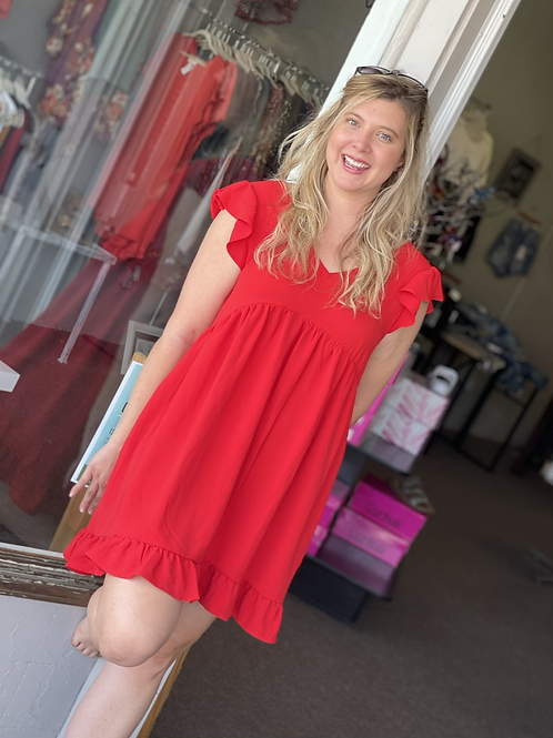 Tomato Red Classy Dress