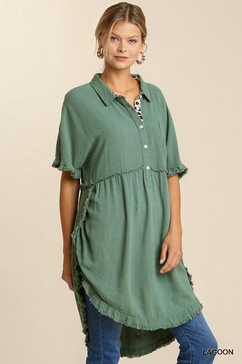Lagoon Button Front SS Dress