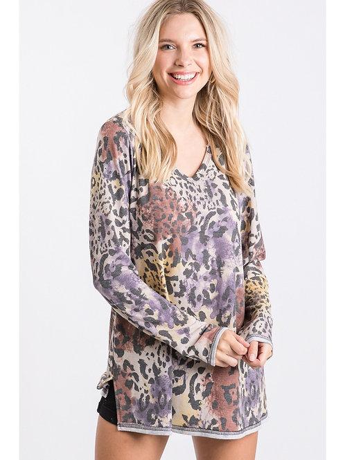 Purple Tie Dye Leopard Pullover