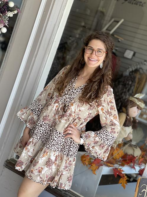 Sand Floral Leopard Mix Dress