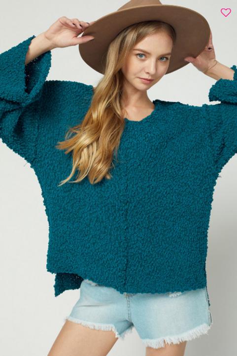 Teal Green Popcorn Hi Lo Sweater