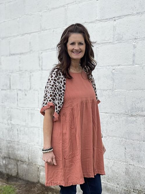 Red Clay Linen Dress Leopard Details