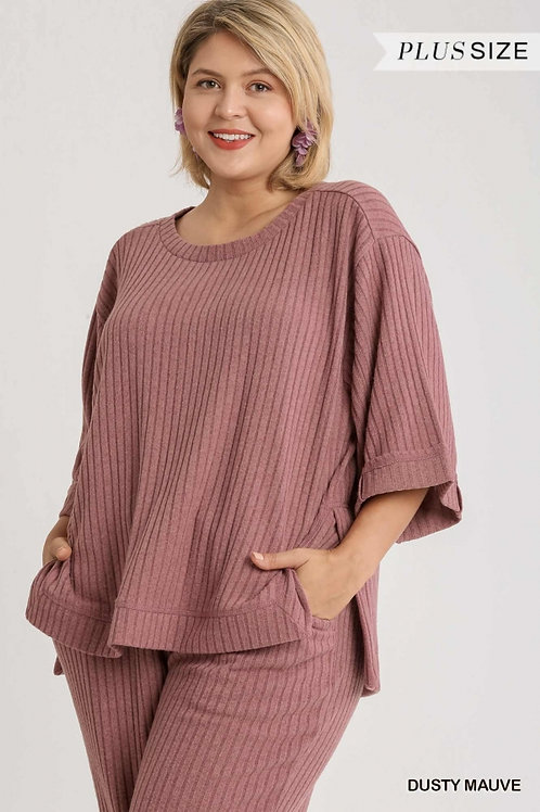 (P) Dusty Mauve Ribbed Knit Top