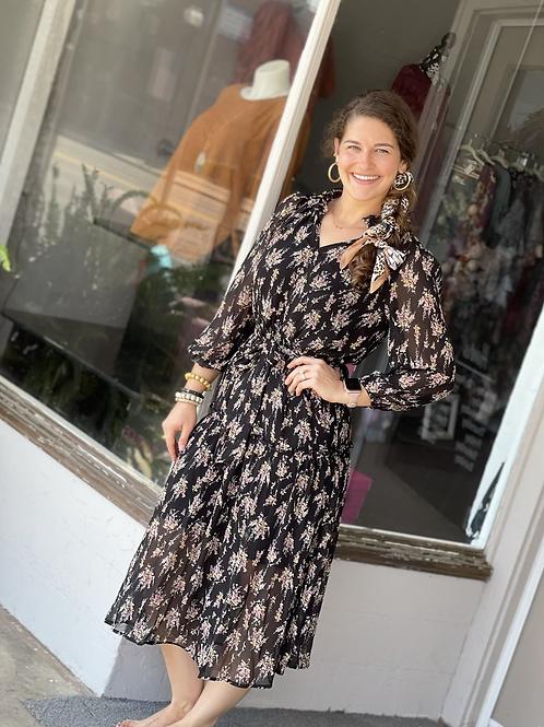 Black Floral Prairie Dress