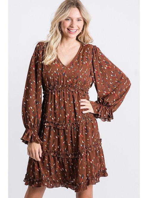 Brown Multi Feather Ruffle Dress