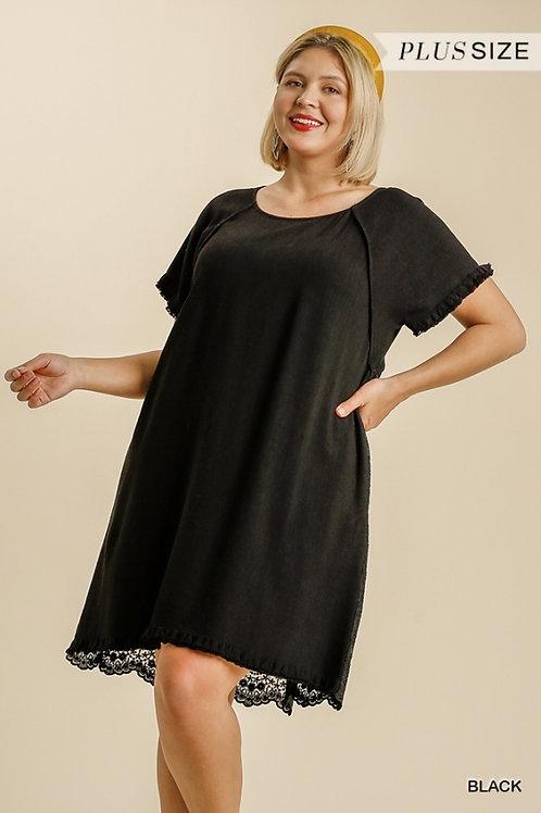 (P) Black Linen Lace Dress