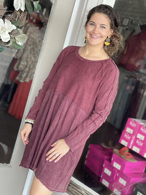 Burgundy Linen Blend Dress