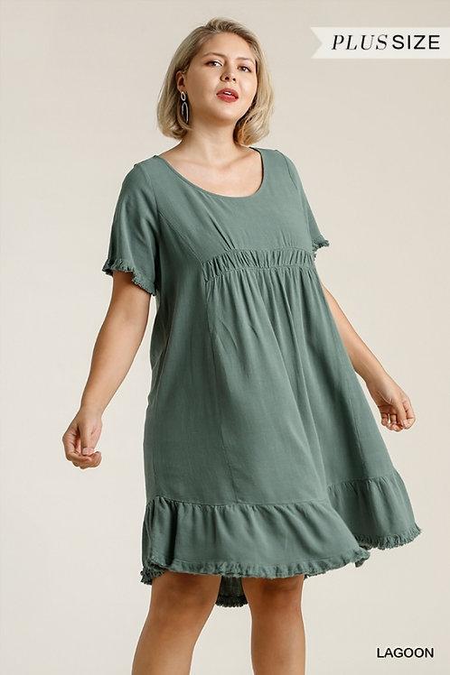 (P) Lagoon Linen Fray Tunic Dress
